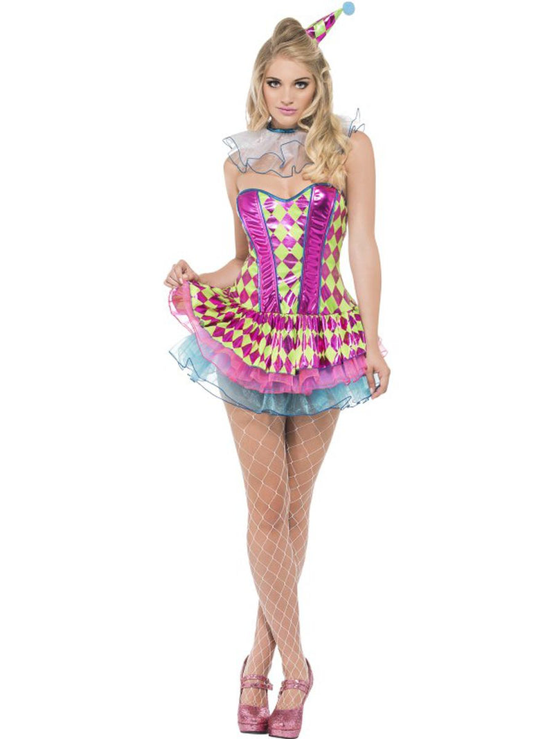 3-PC-Circus-Clown-Neon-Harlequin-Tutu-Dress-&-Neck-Ruffle-w/-Hat-Party-Costume