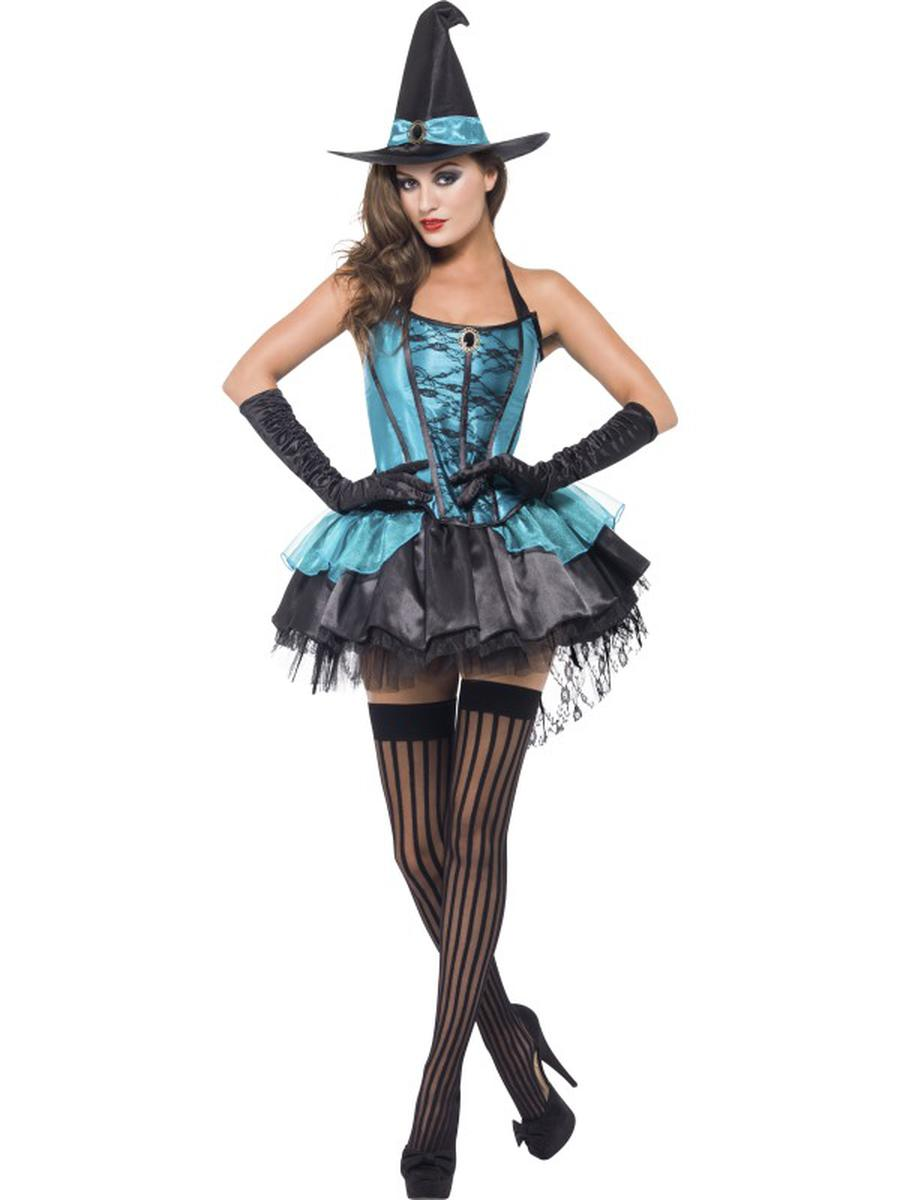 3-PC-Witch-Turquoise-Corset-Top-&-Skirt-w/-Hat-Party-Costume