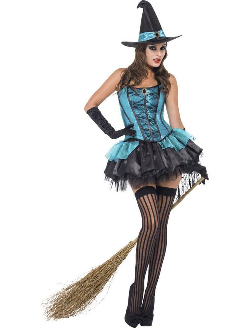3 PC Witch Turquoise Corset Top & Skirt w/ Hat Party Costume - Fest Threads