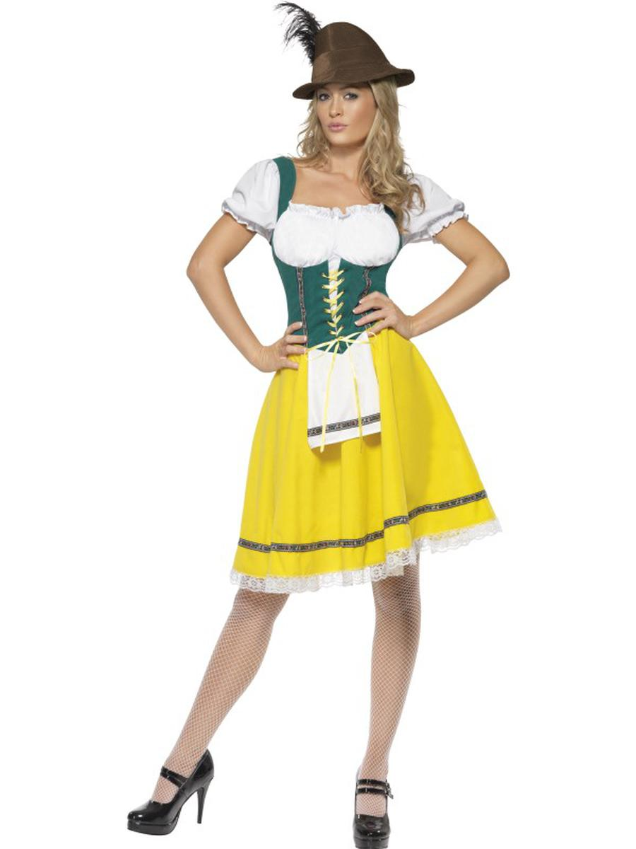1-PC-German-Bavarian-Oktoberfest-Yellow-Green-&-White-Dress-Party-Costume-