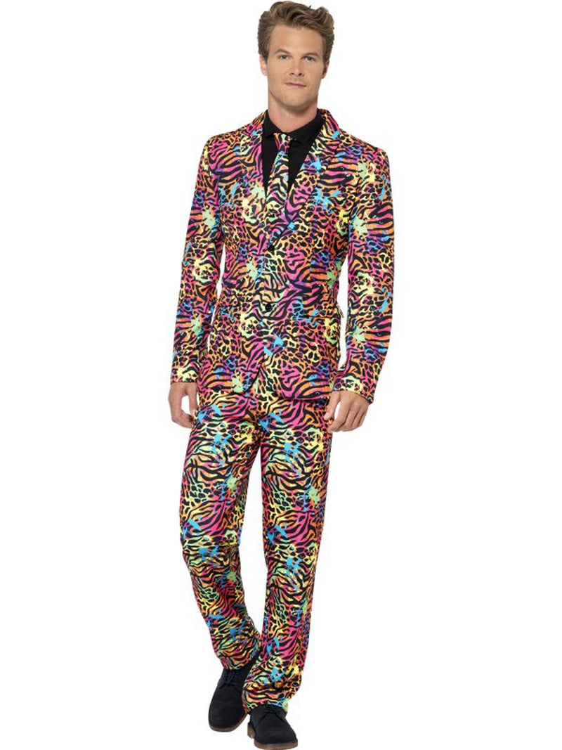 3-PC-Men's-Neon-Leopard-80's-Rock-Star-Suit-Jacket-&-Pants-w/-Tie-Party-Costume
