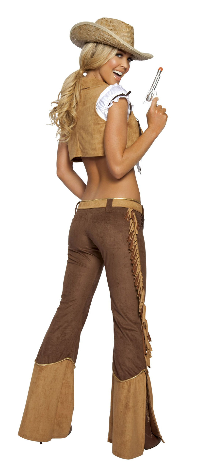6 Piece Sexy Wild West Crop Top & Fringe Pants Costume - Fest Threads