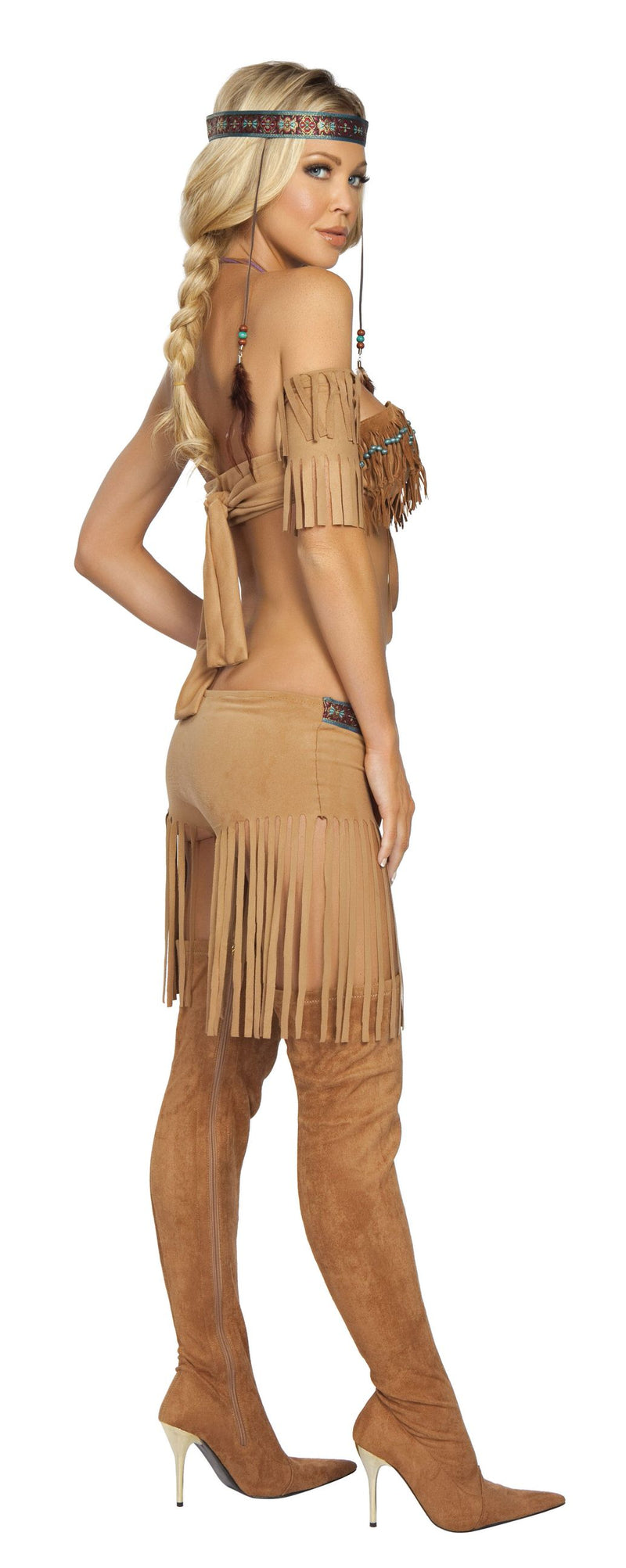 5 Piece Indian Princess Beaded Top & Fringe Shorts Costume - Fest Threads