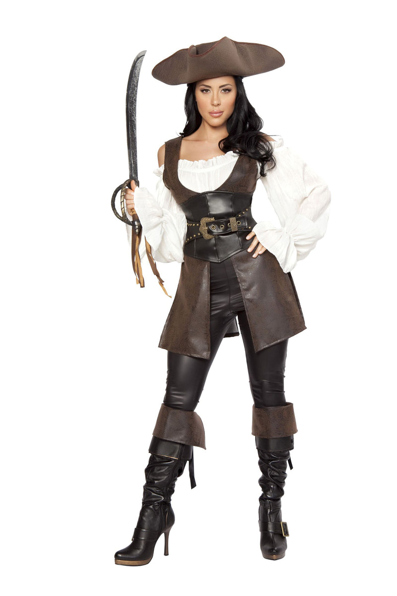 6-Piece-Pirate-Top,-Pants,-&-Cincher-w/-Accessories-Party-Costume