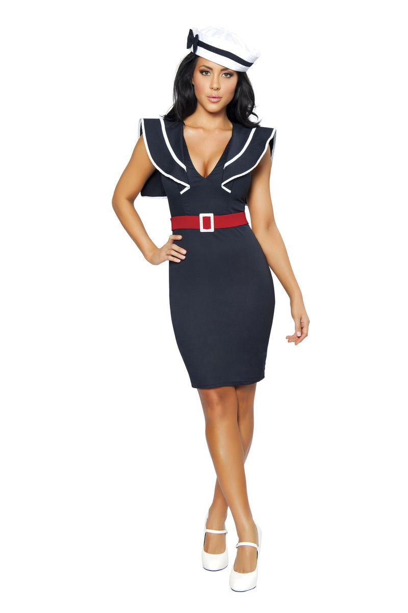 3-Piece-Sailor-Captain-Navy-Midi-Dress-w/-Accessories-Party-Costume