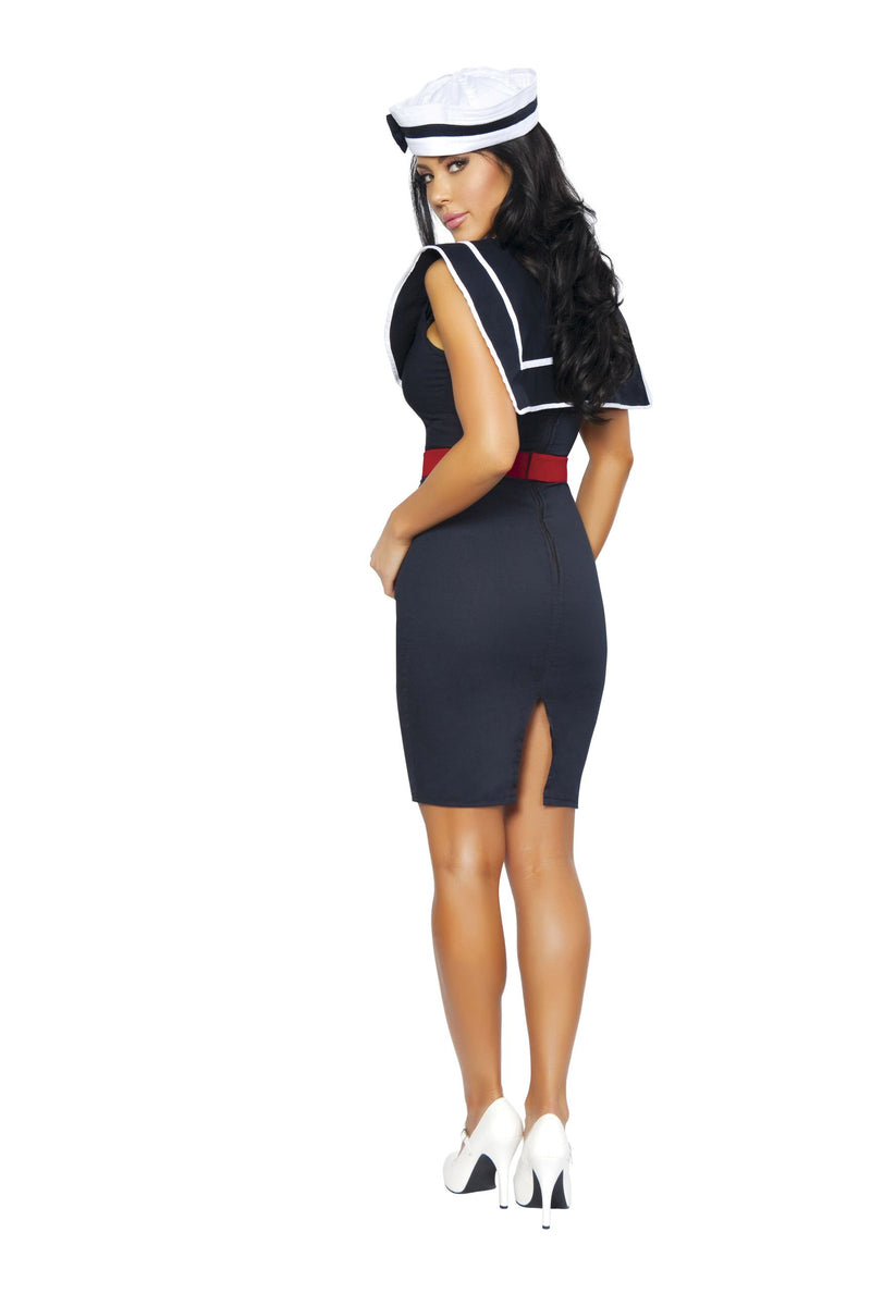 3 Piece Sailor Captain Navy Midi Dress w/ Accessories Party Costume - Fest Threads