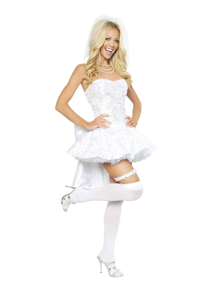 Adult-Women's-4-Piece-Bride-White-Dress-Halloween-Party-Costume