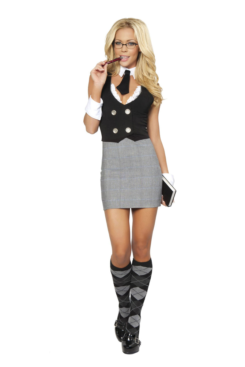 Adult-Women's-4-Piece-Sexy-Librarian-Dress-Halloween-Party-Costume