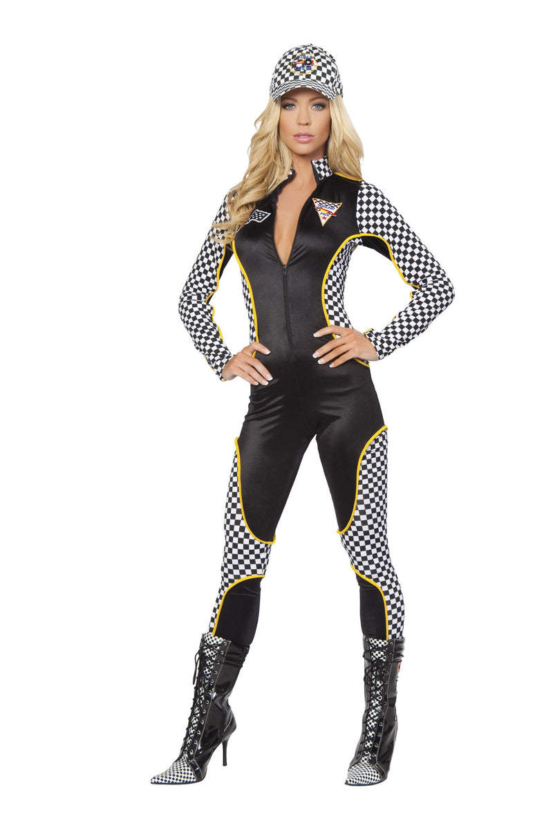 1-Piece-Race-Car-Driver-Black-&-White-Jumpsuit-Party-Costume-
