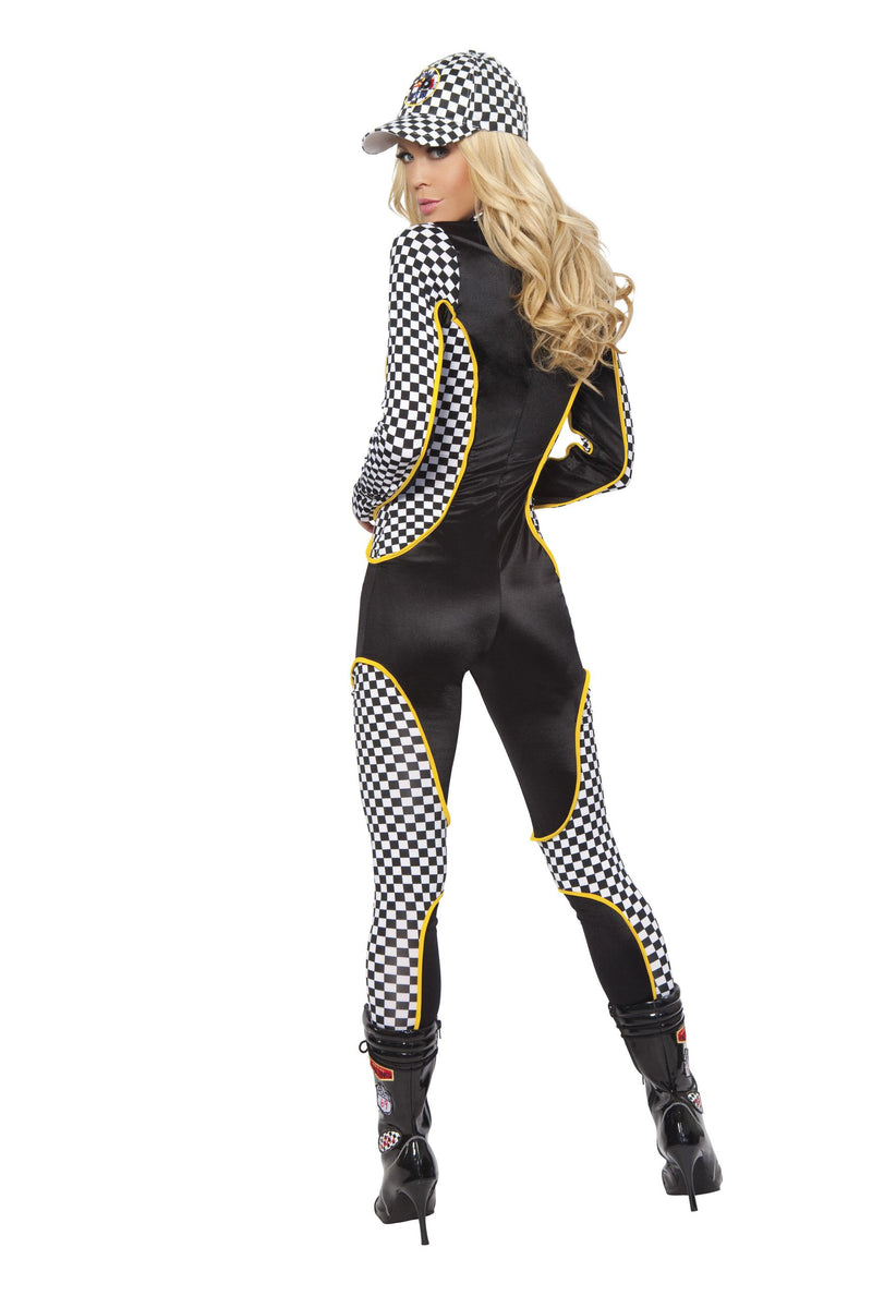 1 Piece Race Car Driver Black & White Jumpsuit Party Costume - Fest Threads
