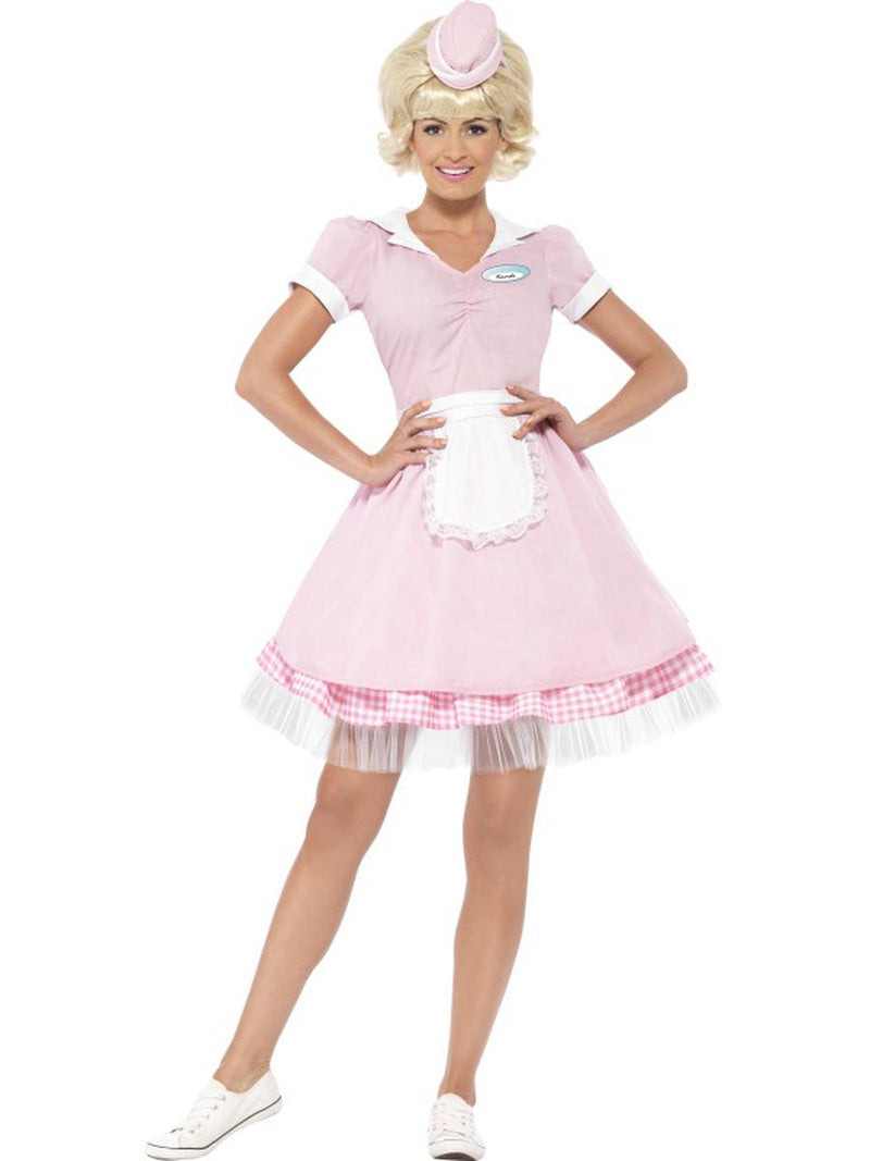 2-PC-Women's-50s-Retro-Diner-Waitress-Server-Pink-Dress-&-Mini-Hat-Party-Costume