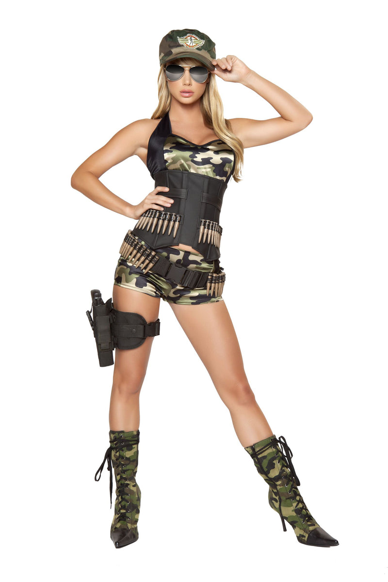5-Piece-Army-Babe-Camo-Top-Bullet-Cincher-&-Shorts-w/-Accessories-Party-Costume-