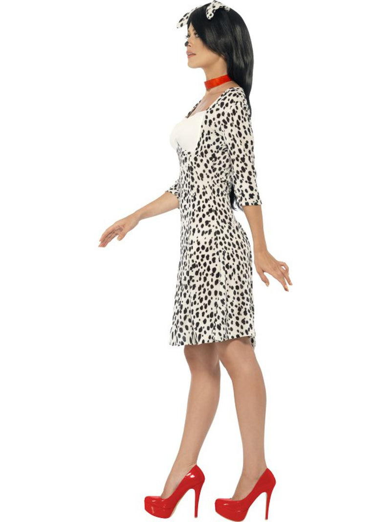 3 PC Women's Dalmatian Doggie Midi Dress & Headpiece w/ Choker Costume - Fest Threads