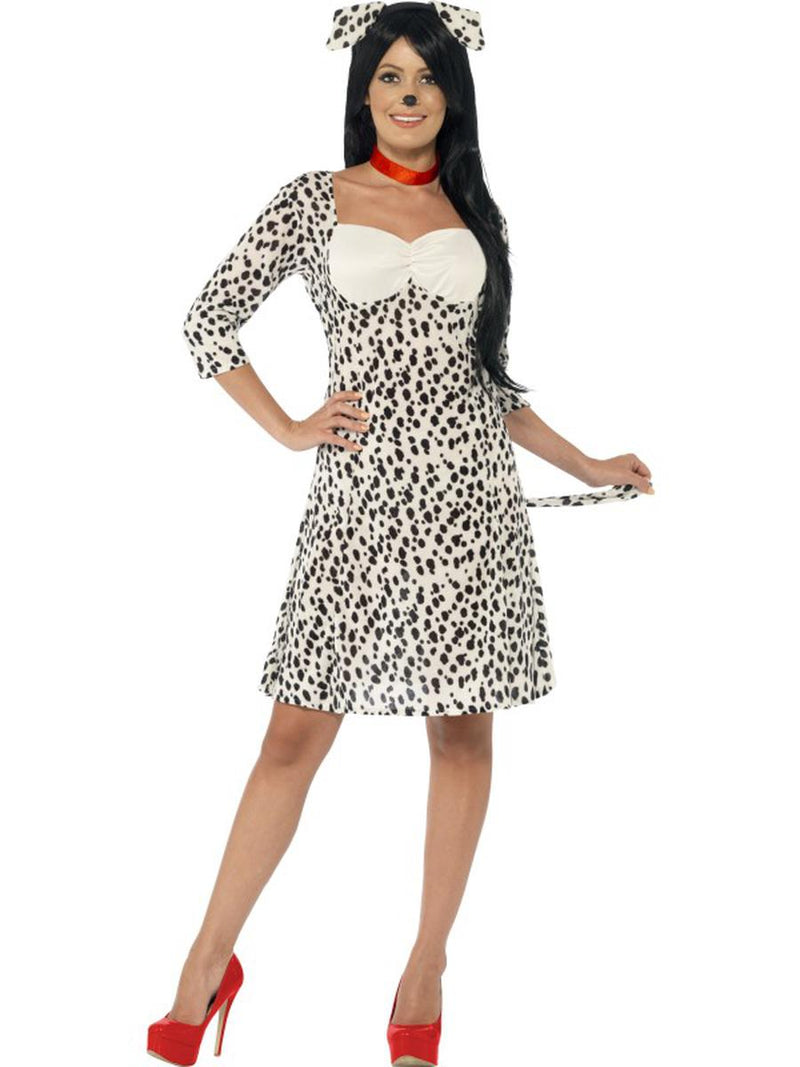 3-PC-Women's-Dalmatian-Doggie-Midi-Dress-&-Headpiece-w/-Choker-Costume
