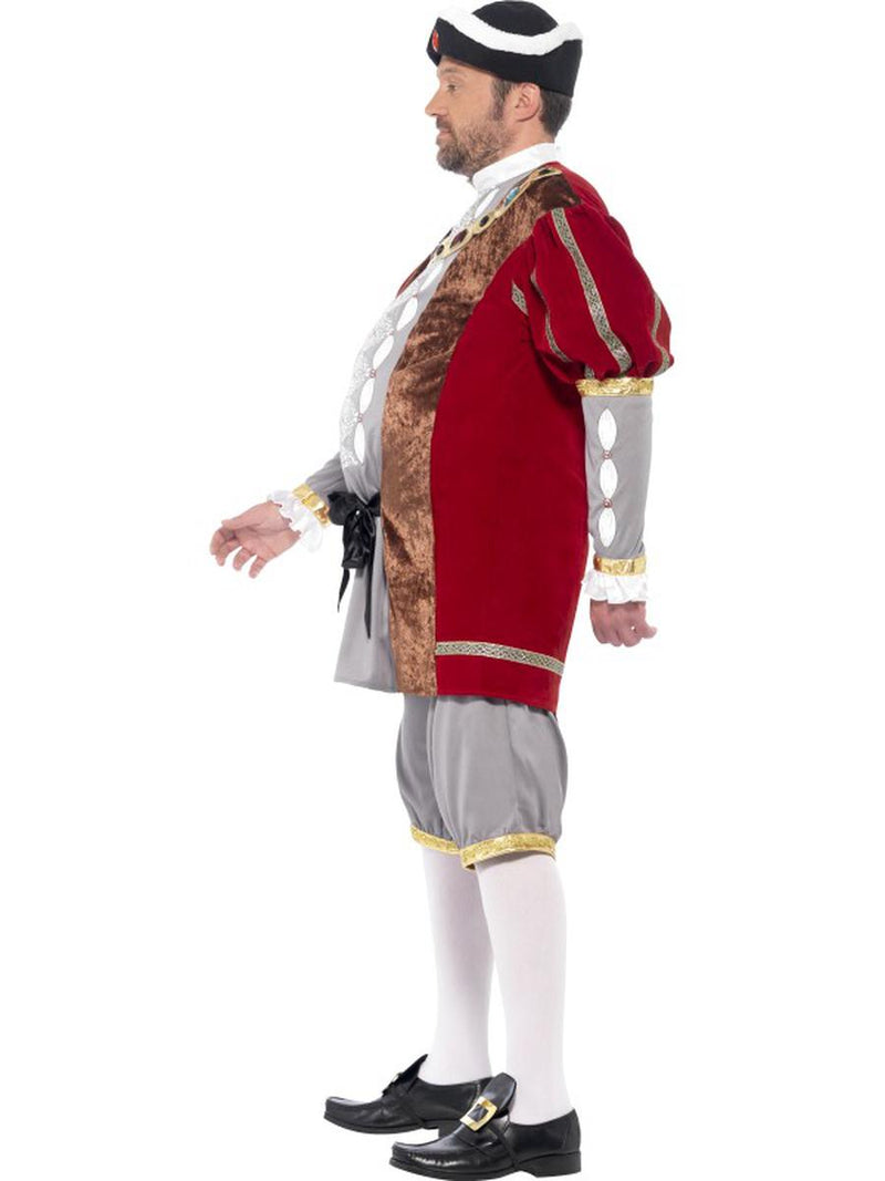 2 PC Men's King of England Henry VIII Red Jacket & Pants Party Costume - Fest Threads