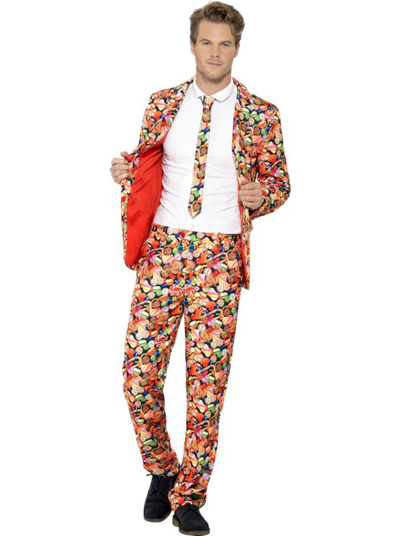 3-PC-Men's-Red-Candy-Lollipop-Suit-Jacket-&-Pants-w/-Tie-Party-Costume