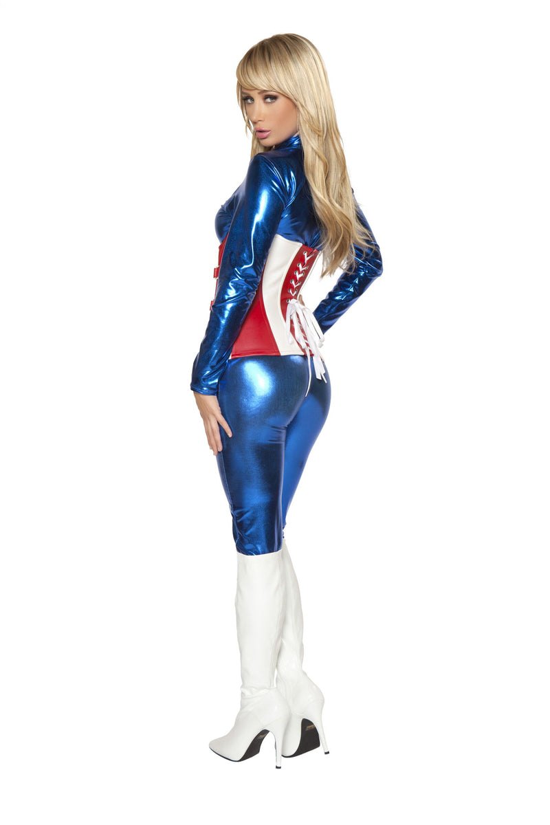 Adult Women's 2 Piece Sexy Miss Captain America Jumpsuit Halloween Party Costume