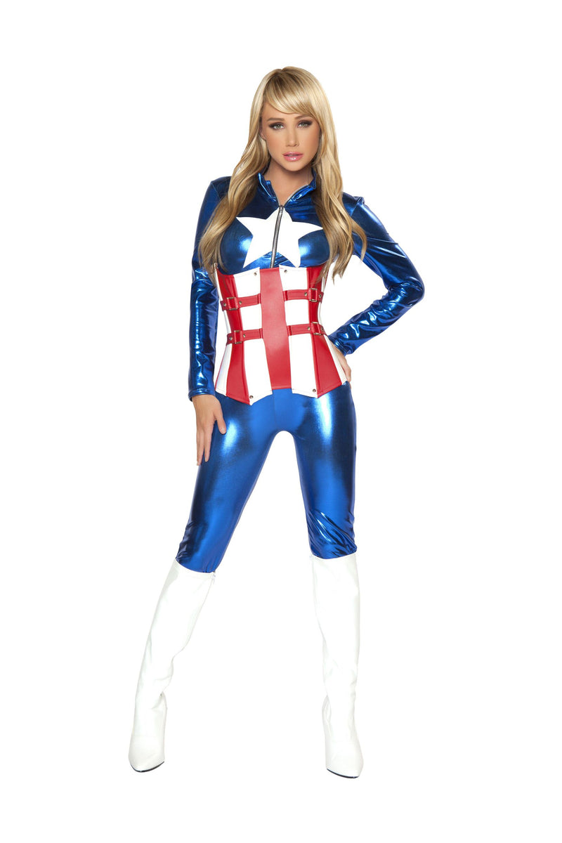 Adult-Women's-2-Piece-Sexy-Miss-Captain-America-Jumpsuit-Halloween-Party-Costume