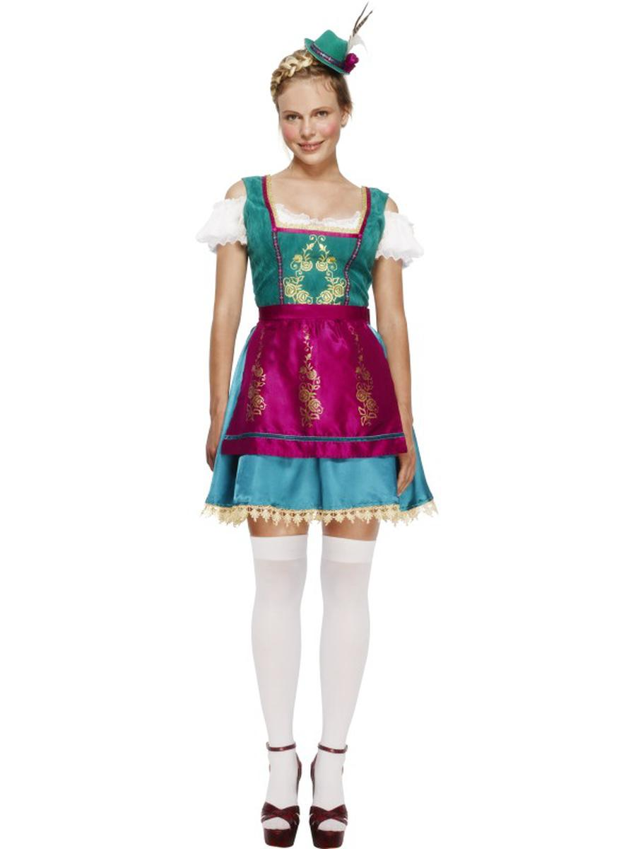 3-PC-German-Bavarian-Oktoberfest-Blue-&-Green-Dress-w/-Hat-&-Pink-Apron-Costume-