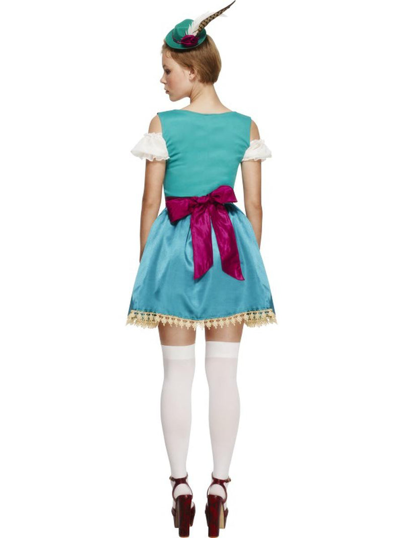 3 PC German Bavarian Oktoberfest Blue & Green Dress w/ Hat & Pink Apron Costume - Fest Threads