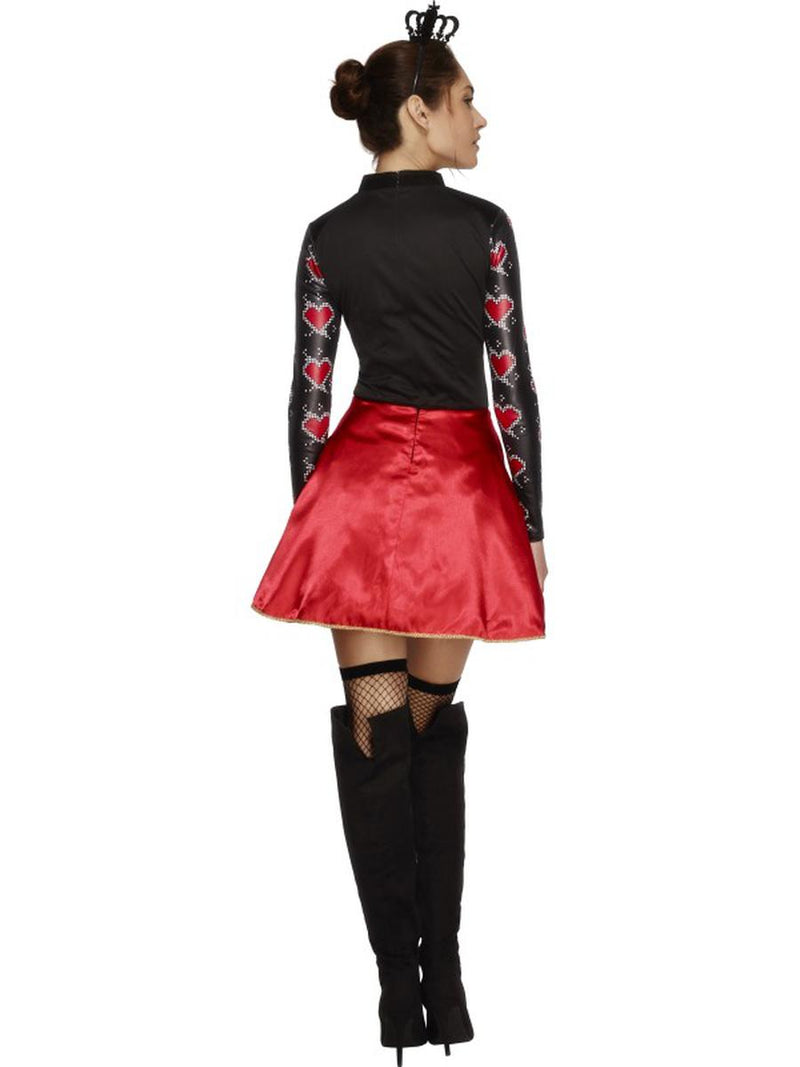 2 PC Women's Queen of Hearts Long Sleeve Dress & Mini Crown Party Costume - Fest Threads