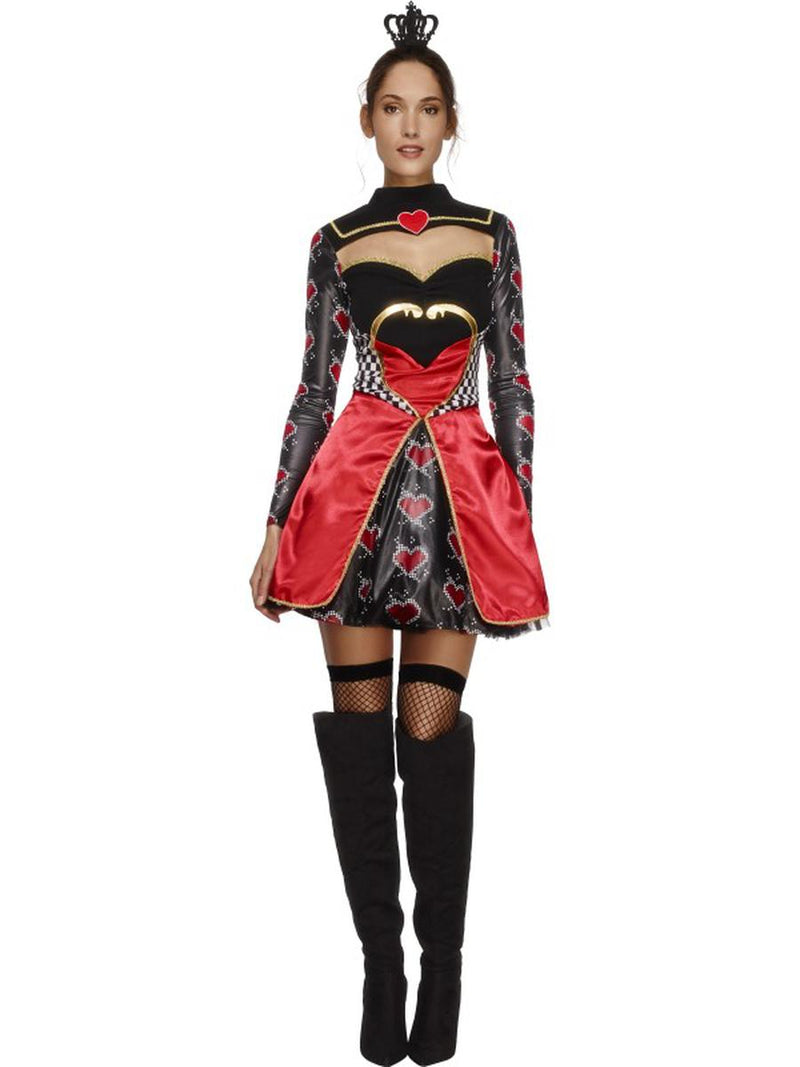 2-PC-Women's-Queen-of-Hearts-Long-Sleeve-Dress-&-Mini-Crown-Party-Costume