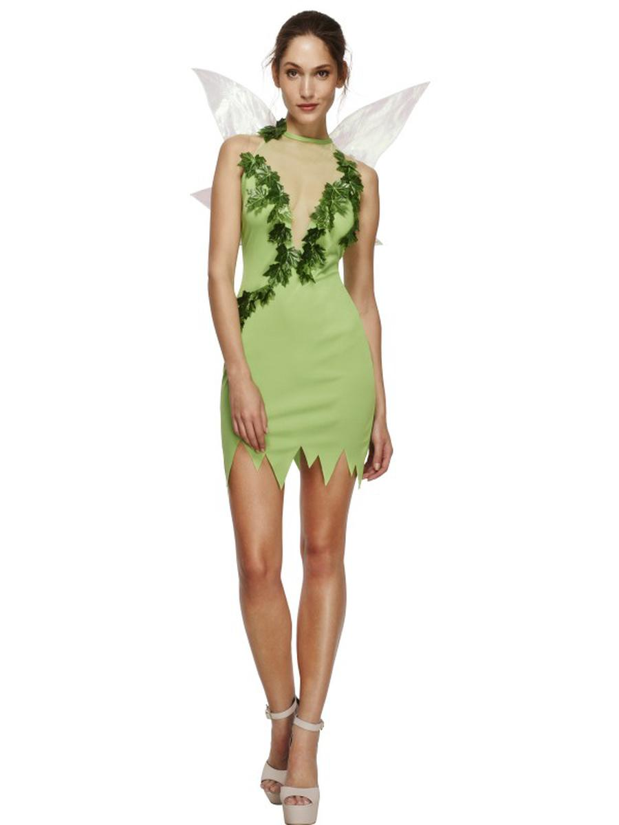 2-PC-Women's-Woodland-Magical-Fairy-Green-Dress-w/-Wings-Party-Costume