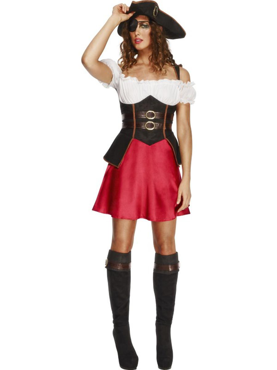 4-PC-Caribbean-Pirate-Wench-Dress-w/-Accessories-Party-Costume