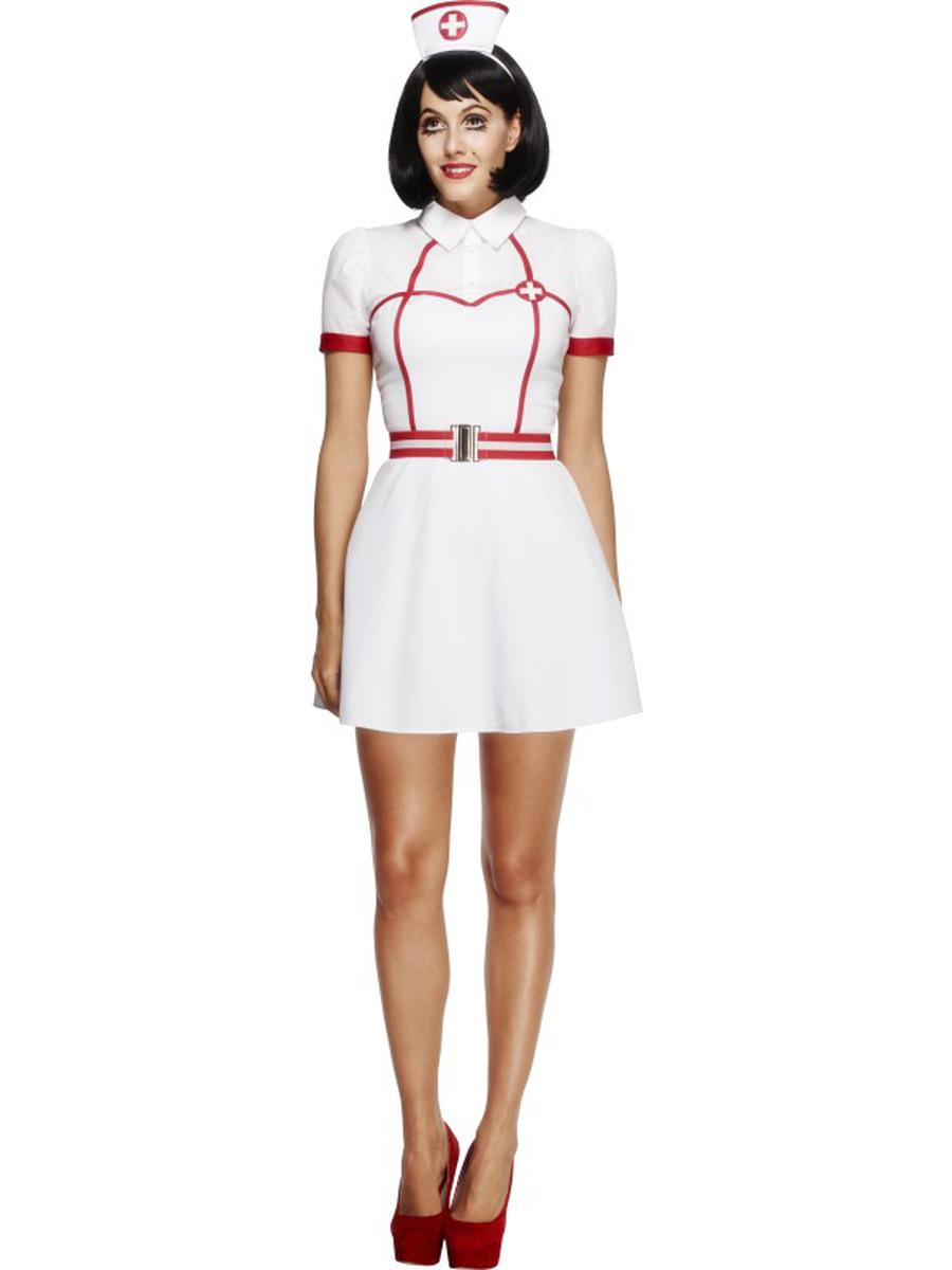 3-PC-Women's-Nurse-Medic-RN-White-Dress-w/-Belt-&-Headpiece-Party-Costume