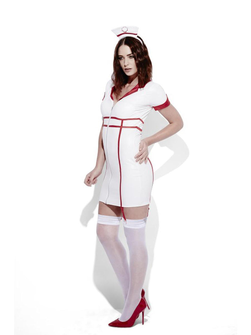 2 PC Women's Nurse Role Play Wet Look Mini White Dress & Headpiece Party Costume - Fest Threads