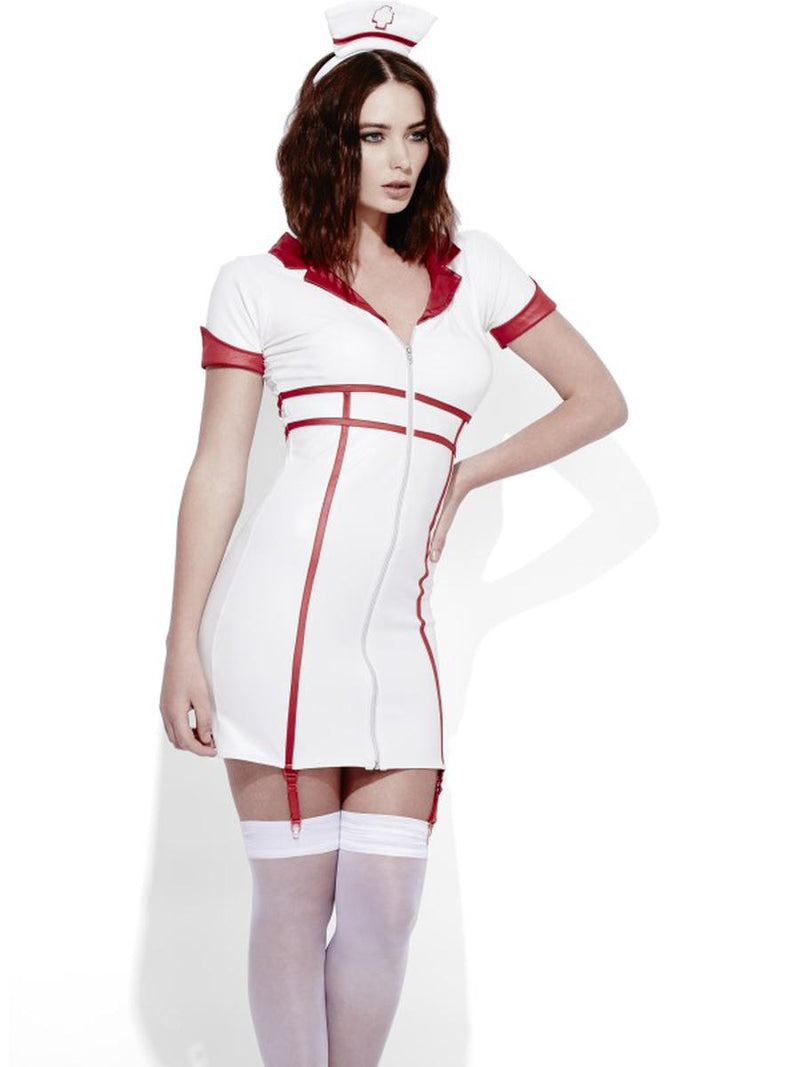 2-PC-Women's-Nurse-Role-Play-Wet-Look-Mini-White-Dress-&-Headpiece-Party-Costume