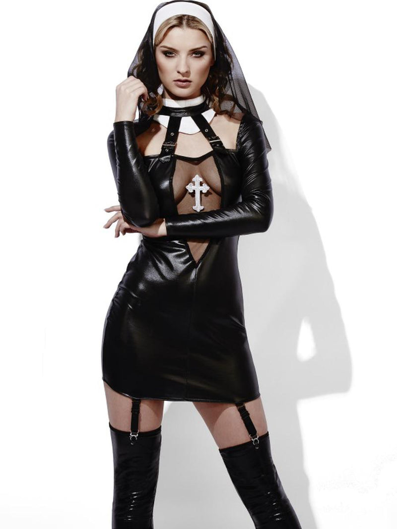 2-PC-Women's-Catholic-Nun-Role-Play-Low-V-Neck-Dress-&-Headpiece-Party-Costume