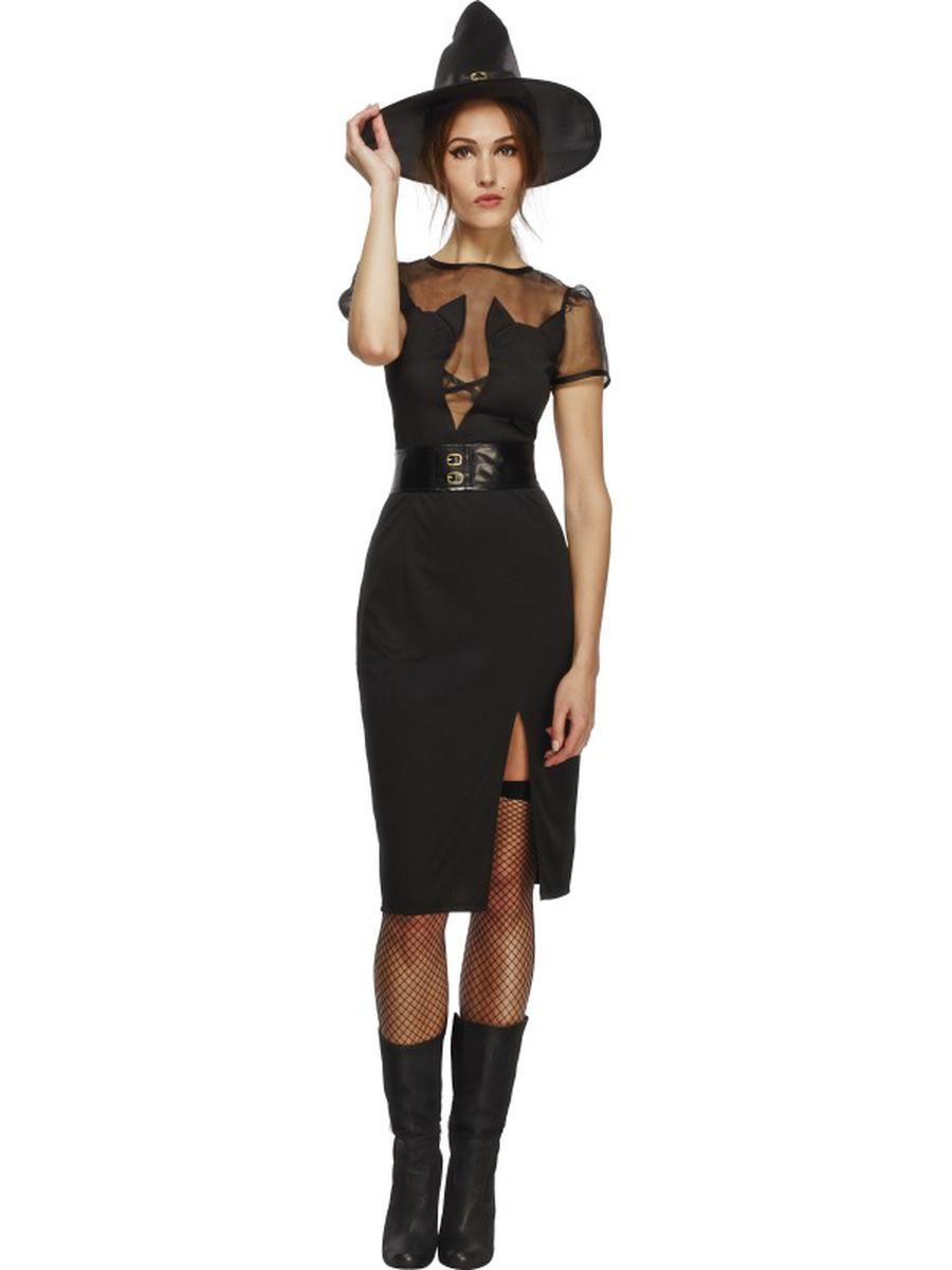3-PC-Women's-Witch-Sorceress-Black-Cat-Midi-Dress-w/-Accessories-Party-Costume
