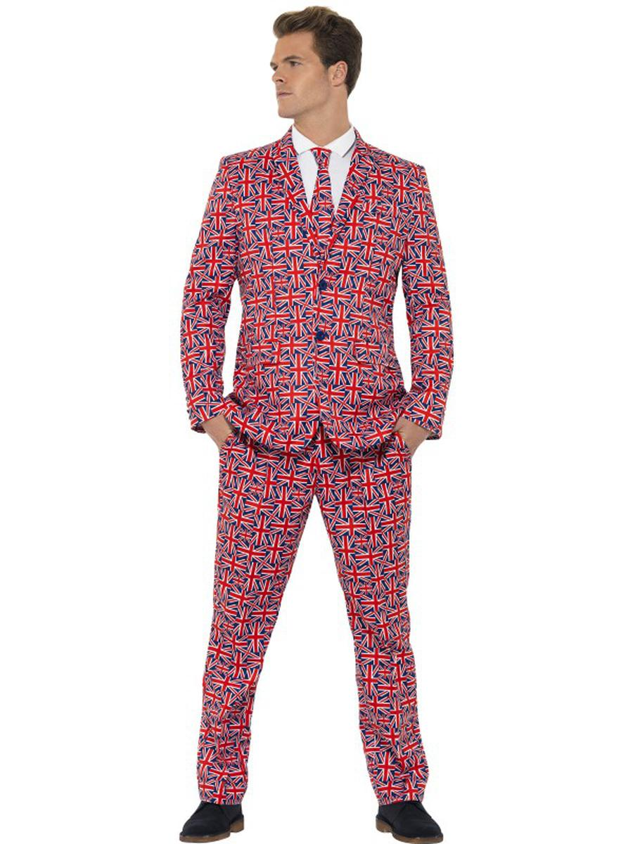 3-PC-Men's-Red-UK-British-Flag-Suit-Jacket-&-Pants-w/-Tie-Party-Costume