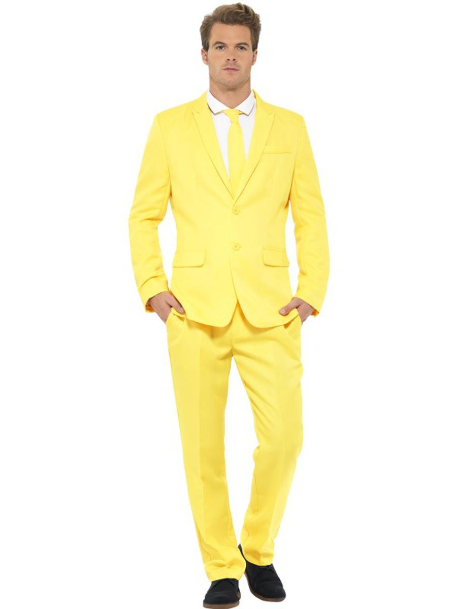 3-PC-Men's-Yellow-Suit-Jacket-&-Pants-w/-Tie-Party-Costume