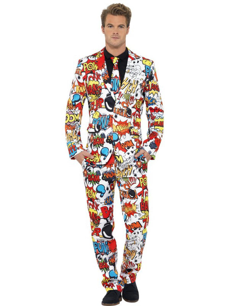 3-PC-Men's-Comic-Strip-Suit-Jacket-&-Pants-w/-Tie-Party-Costume
