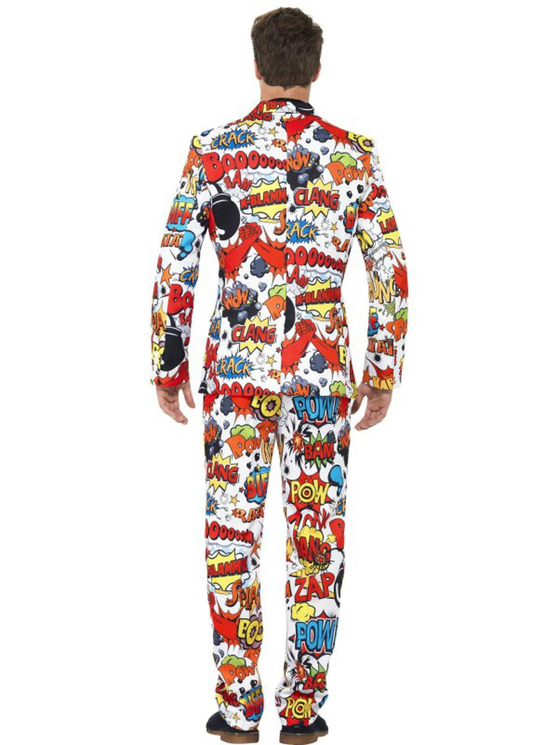 3 PC Men's Comic Strip Suit Jacket & Pants w/ Tie Party Costume - Fest Threads