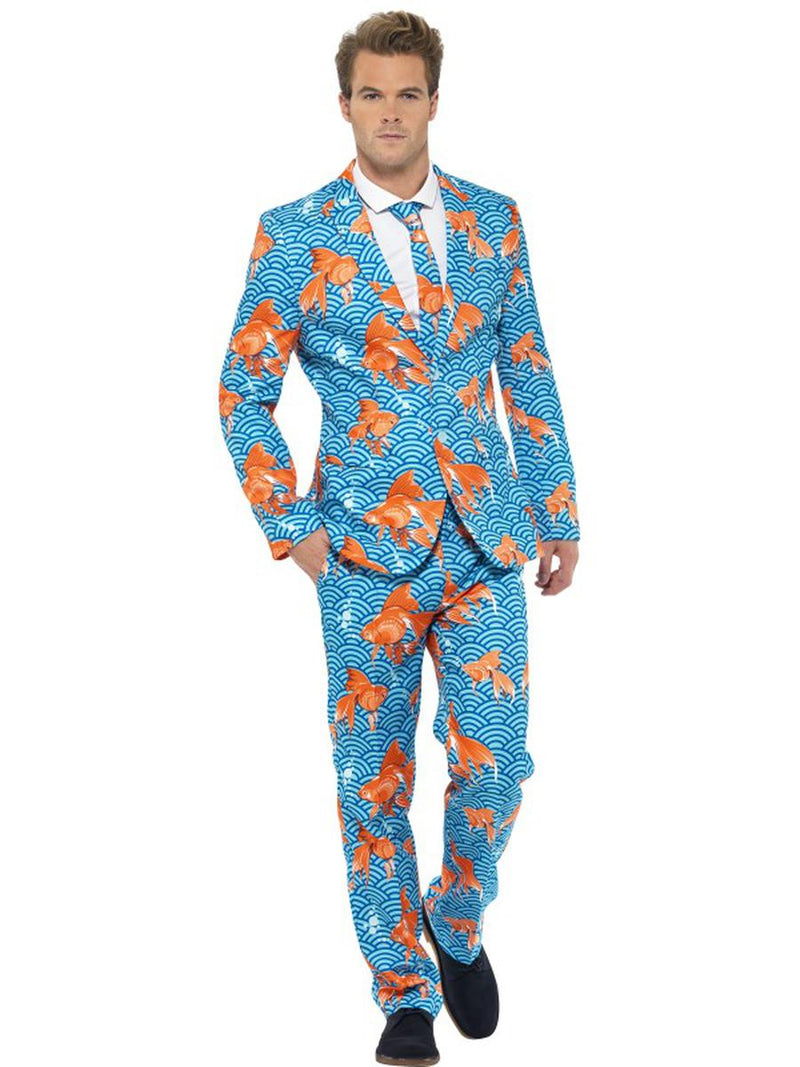 3-PC-Men's-Blue-Goldfish-Suit-Jacket-&-Pants-w/-Tie-Party-Costume