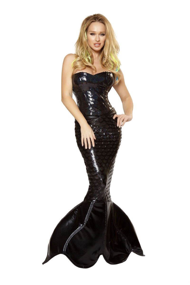 2-Piece-Black-Sexy-Mermaid-Sea-Siren-Corset-Top-&-Skirt-Tail-Costume