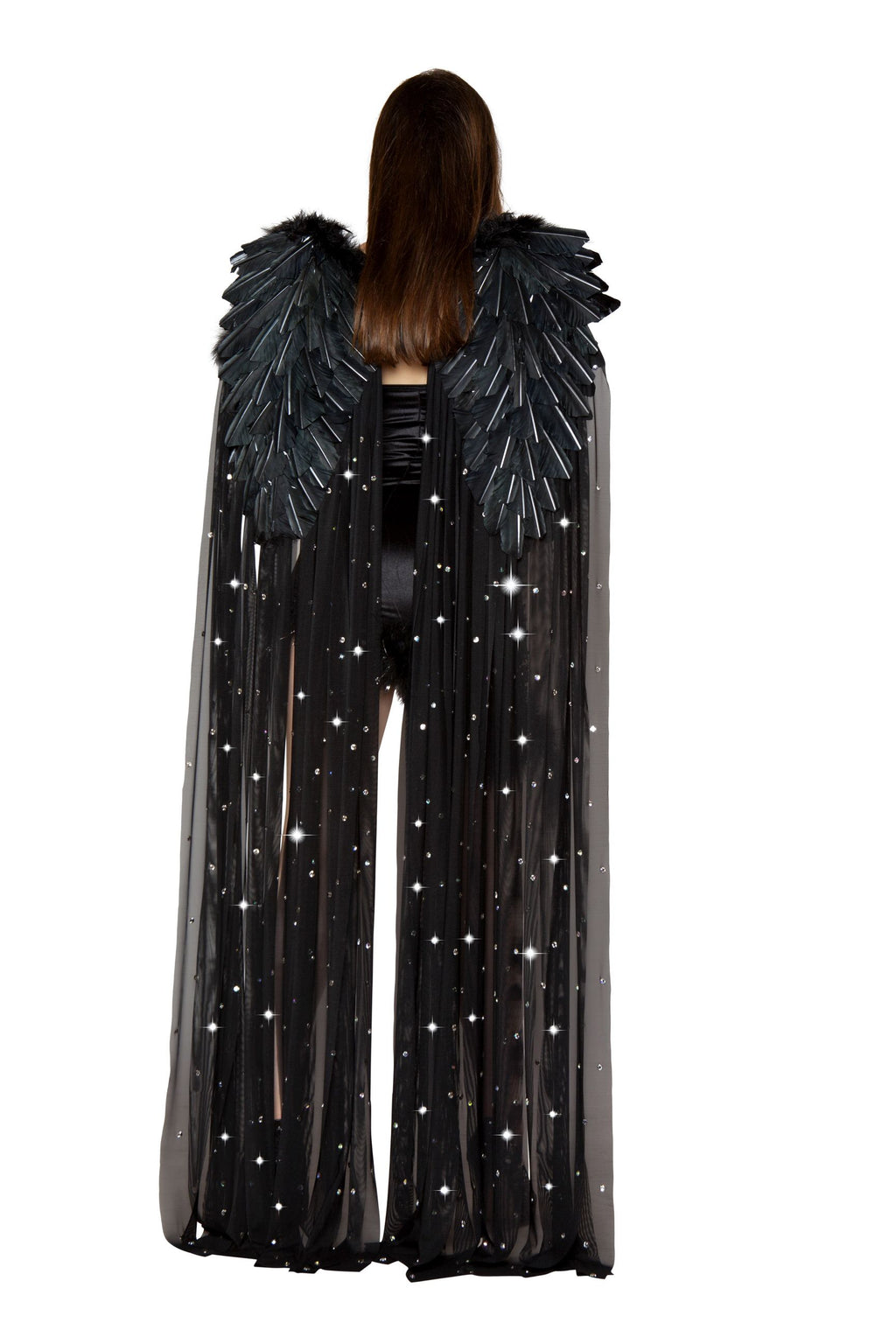 Black-Fallen-Angel-Double-Layer-Rhinestone-Feather-Wings-Costume-Accessory