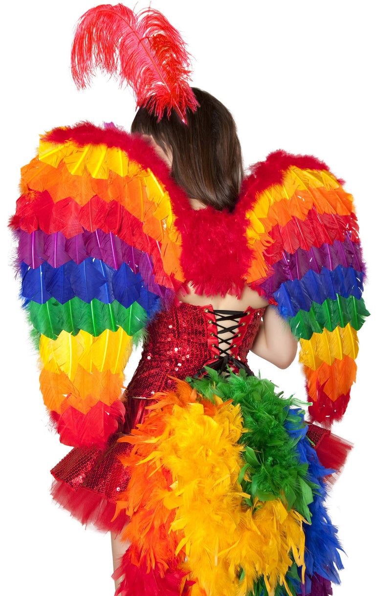 Adult-Women's-Rainbow-Parrot-Feather-Wings-Halloween-Party-Costume-Accessory