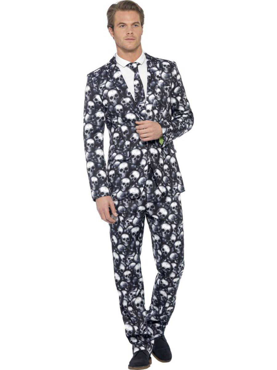 3-PC-Men's-Skeleton-Skull-Black-&-White-Suit-Jacket-&-Pants-w/-Tie-Party-Costume