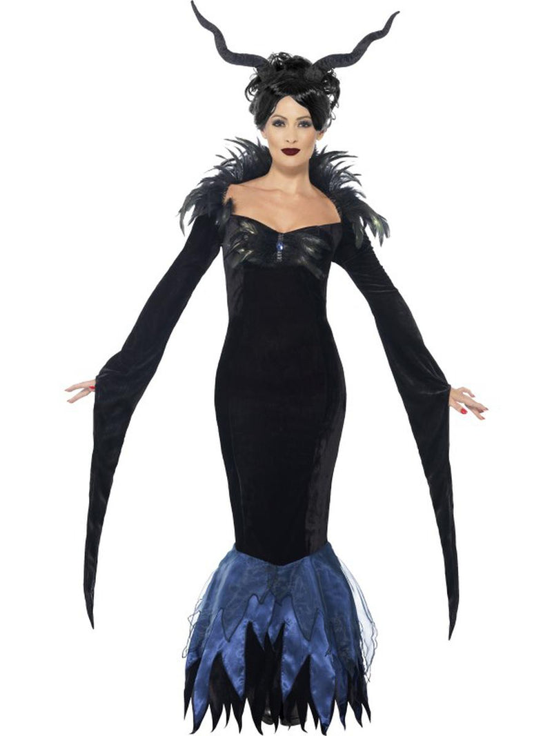 1-PC-Women's-Evil-Raven-Witch-Fairy-Feather-Maxi-Dress-Party-Costume