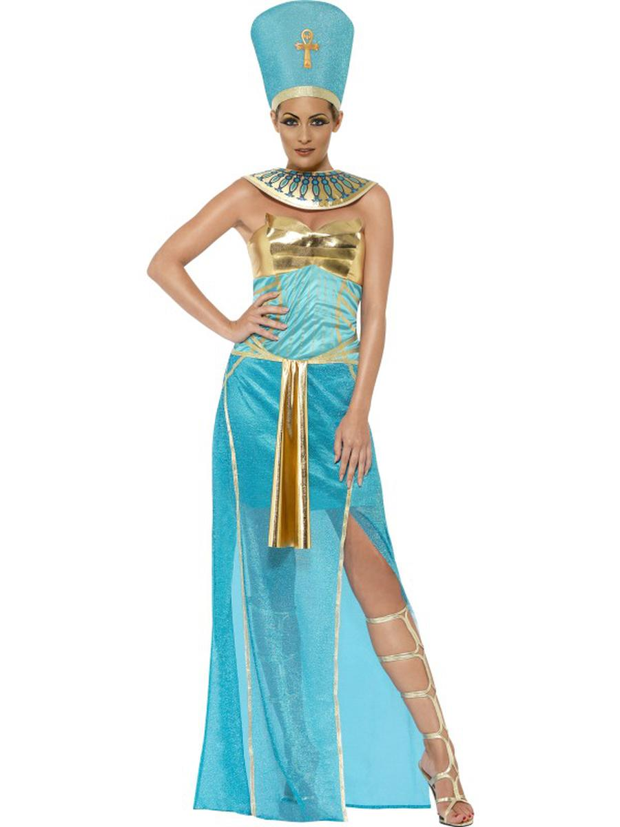 3-PC-Egyptian-Goddess-Nefertiti-Blue-Dress-&-Headpiece-w/-Collar-Party-Costume