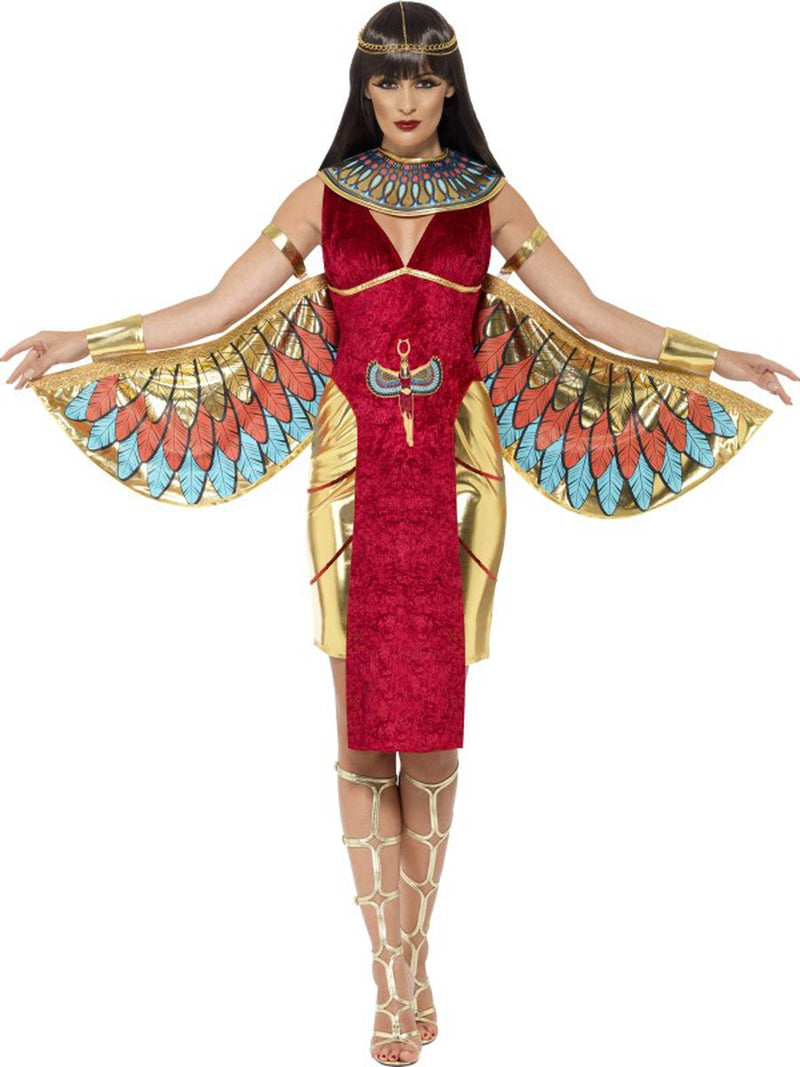 4-PC-Egyptian-Goddess-Cleopatra-Red-Dress-&-Wings-w/-Accessories-Party-Costume