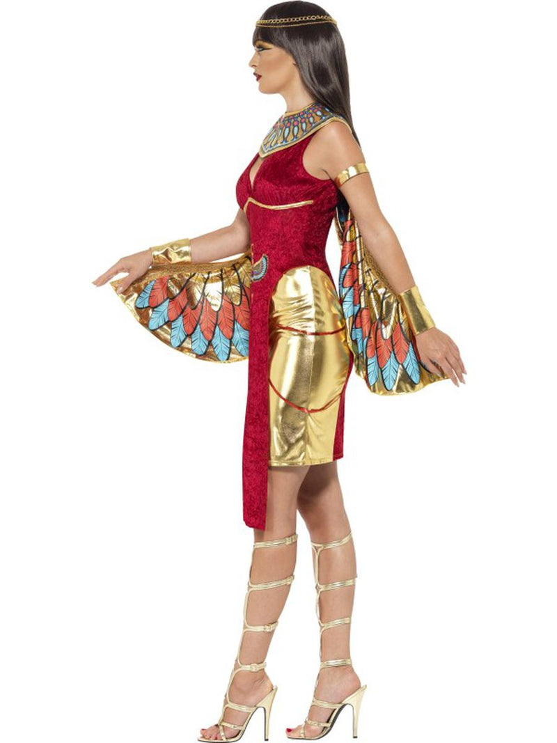 4 PC Egyptian Goddess Cleopatra Red Dress & Wings w/ Accessories Party Costume - Fest Threads