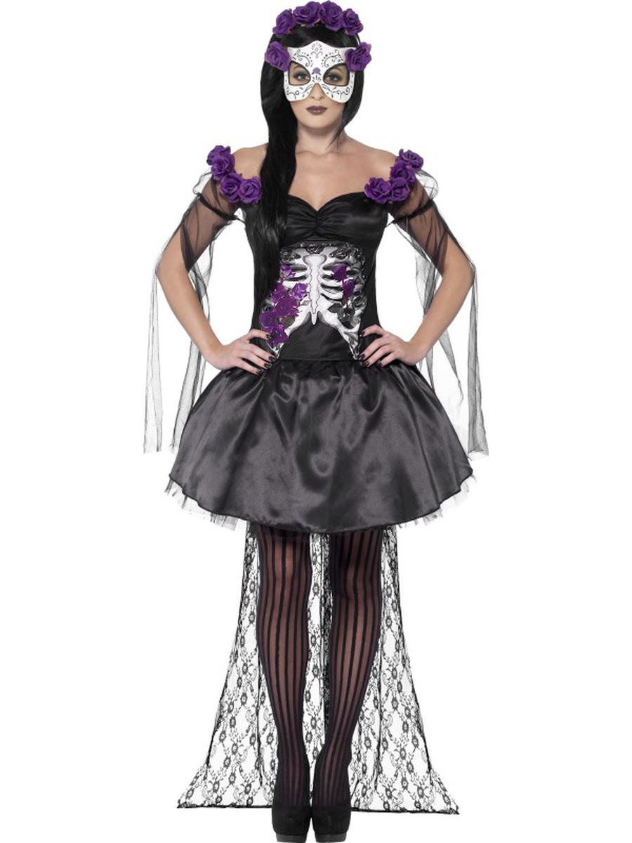 4-PC-Day-of-the-Dead-Black-Purple-Top-&-Skirt-w/-Accessories-Costume