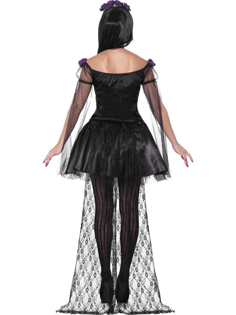 4 PC Day of the Dead Black Purple Top & Skirt w/ Accessories Costume - Fest Threads