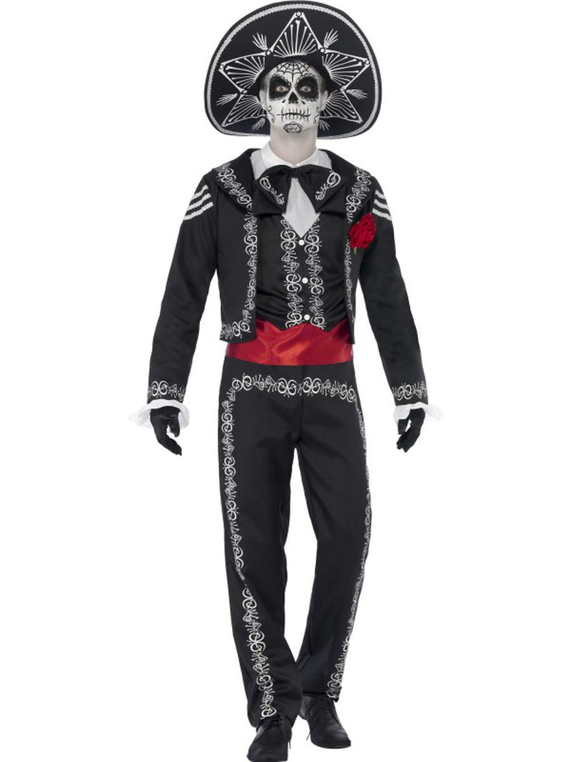 4-PC-Skeleton-Bones-Day-of-the-Dead-Shirt-Jacket-&-Pants-w/-Hat-Party-Costume