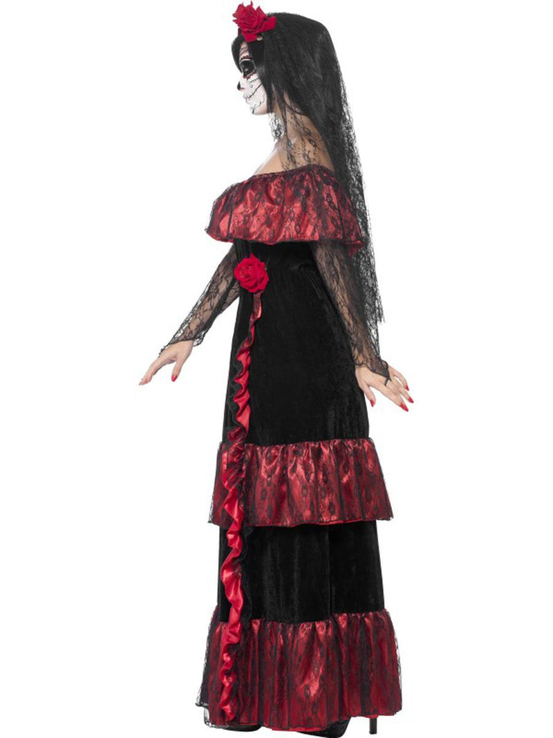 2 PC Skeleton Sugar Skull Day of the Dead Bride Dress w/ Rose Veil Party Costume - Fest Threads